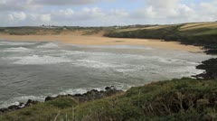 Crantock beach North Cornwall England United Kingdom near Newquay Stock Footage