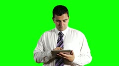 Young Businessman Tablet PC Greenscreen Stock Footage