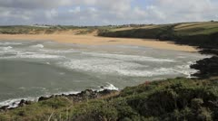Crantock beach North Cornwall England United Kingdom Stock Footage