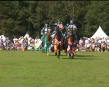 6 knights on horseback in Sussex, England Stock Footage
