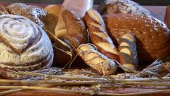 German bakery many different breads dolly quick 10765 Stock Footage