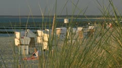 Summer Evening on the Beach in Ahrenshoop - Baltic Sea, Northern Germany Stock Footage