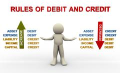 rules of debit and credit - stock illustration