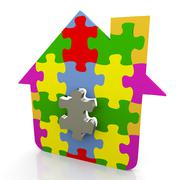 Stock Illustration of 3d puzzle house
