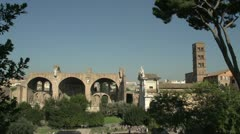 History & culture, Roman forum wide shot, Basilica of Maxentius and Constantine Stock Footage