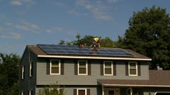 Installing Solar Panels Stock Footage