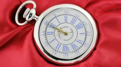 Twelve hours. Old silver pocket watch Stock Footage