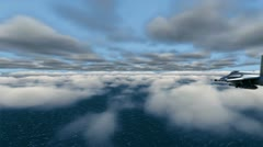 F-18 Fighter and B-2 Bomber over clouds - stock footage