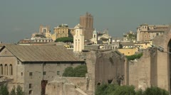 History & culture, Roman Forum ruins and skyline Stock Footage