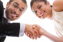 Happy handshake and teamwork Stock Photos