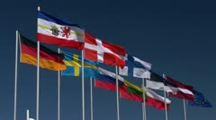 International Flags on Clear Blue Sky - Baltic Sea, Northern Germany Stock Footage