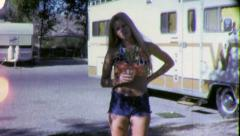 Blond Pretty Teenage Girl Short Shorts 1970s Vintage Retro Film Home Movie 5609 - stock footage