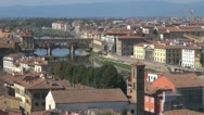 Stock Video Footage of Florence.Aerial View.Arno River.  The Ponte Vecchio