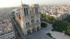 The famous Notre Dame Cathedral in Paris by HeliDog_Aerials Stock Footage