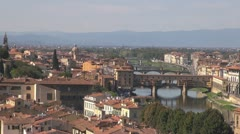 Florence.Aerial View.Arno River.  The Ponte Vecchio Stock Footage