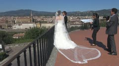 Asian grooms..Unforgettable moment in beautiful Florence.Italy. Stock Footage