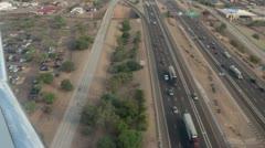 Aerial shot airline landing Phoenix Arizona HD 3553 Stock Footage
