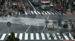 Tokyo People Walking Crosswalk Commuters Commute Busy Shopping Street Time Lapse - stock footage