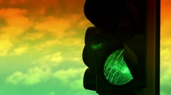 Close up view of green and yellow colors on the traffic light Stock Footage