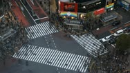 Stock Video Footage of Aerial View Shibuya Crossing, Tokyo Skyline, Japan, Traffic Crowds, time lapse