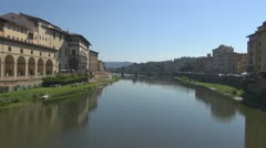 Bridge over river arno.Building is reflected in water.Florence. Stock Footage
