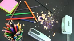 Sharpens a Pencil, Sharpening Pencils - stock footage