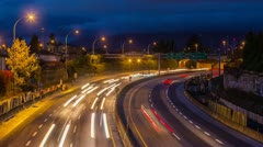 High Impact Busy Traffic of Highway #1 in Vancouver Stock Footage