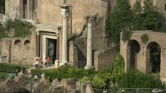 History & culture, Roman forum ruins, arches and columns, long shot Stock Footage