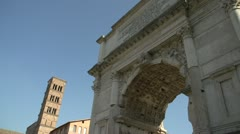 History & culture, Roman runs Arch of Titus, medium shot, low angle Stock Footage