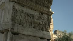 History & culture, Roman ruins, Arch of Titus, low angle detail Stock Footage