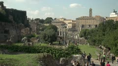 History & culture, Roman forum with tourists, wide shot Stock Footage