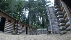 P02319 Fisheye of Yard at Fort Clatsop National Historic Site Stock Footage