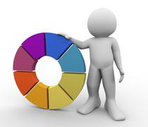 3d man with color wheel Stock Illustration