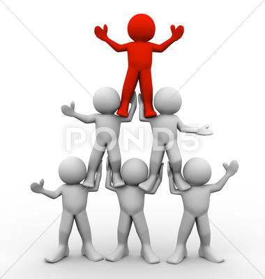 Stock Illustration of 3d men pyramid