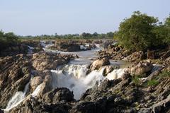 waterfall in laos - stock photo