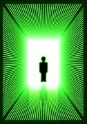 Dark green digital corridor with man silhouette Stock Illustration