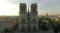 Aerial view of The Notre Dame and Paris by HeliDog_Aerials Stock Footage
