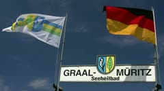 Flags on Blue Sky in Graal-Müritz - Baltic Sea, Northern Germany Stock Footage