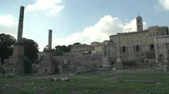 History & culture, Roman forum ruins wide shot Stock Footage