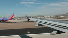 Passenger airline aircraft runway takeoff flight Phoenix Arizona HD 3593 Stock Footage