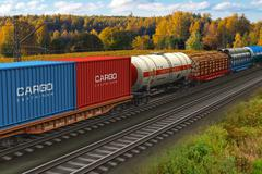 Freight train - stock illustration