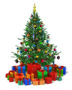 Decorated Christmas tree with heap of color gift boxes - stock illustration
