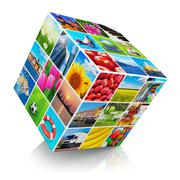 Cube with photo collection - stock illustration