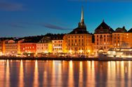 Stock Photo of Night scenery of the Old Town in Stockholm, Sweden