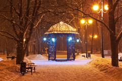 Decorated winter city park at night - stock photo