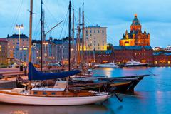 Evening scenery of the Old Port in Helsinki, Finland Stock Photos