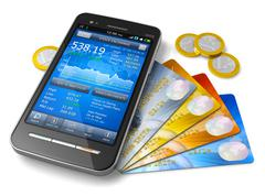 Stock Illustration of Mobile banking and finance concept