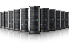 Stock Illustration of Row of network servers in data center