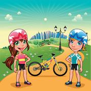 park with young bikers. - stock illustration