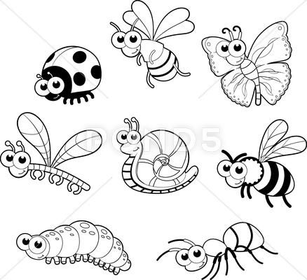 Stock Illustration of bugs and 1 snail.